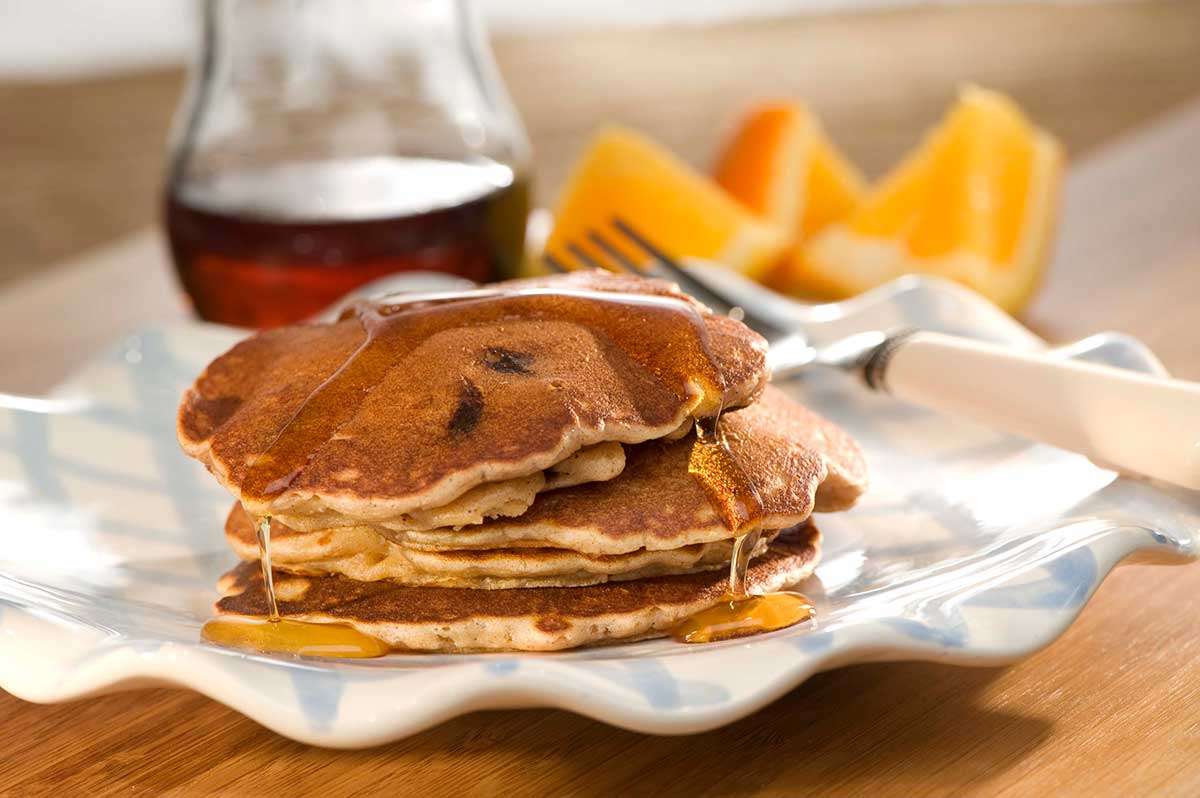 Nutty Banana-Chocolate Chip Pancakes / Nötiga banan-och chokladpannkakor